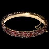 Victorian Bohemian Garnet Bangle Bracelet Three Rows