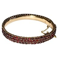 Victorian Bohemian Garnet Bangle Bracelet Three Rows