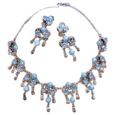 Austro Hungarian Enamel Sterling Forget Me Not Necklace and Earrings