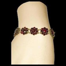 Vintage Bohemian Rose Cut Garnet Bracelet