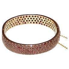 Victorian Garnet 4 Rows Hinged Bangle Bracelet