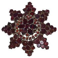 Antique Bohemian Tiered Garnet Pin Brooch