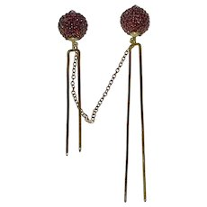Rare Large Victorian Garnet Cloak or Cape Pins Ball Stick Pins with Chain