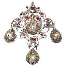 Rare Georgian Pendant Cultured Pearls Rubies - Red Tag Sale Item
