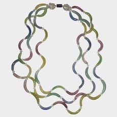 Vintage Art Deco Blown Glass Pastel Beads Necklace