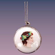 Vintage Painted Glass Pendant Cameo