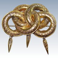 Victorian Etruscan Revival Style Gold Brooch