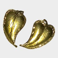 Beautiful Vintage 14K Handmade Leaves Earrings