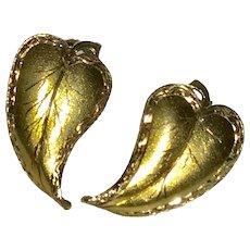 Beautiful Vintage 14K Handmade Leaves Earrings