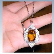 Gorgeous Sterling Art Deco Golden Stone Pendant