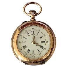 Beautiful Enamel Face Vintage 14K Gold Pocket Watch Ladies