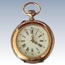Beautiful Enamel Face Vintage 14K Gold Pocket Watch Ladies