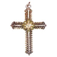 Vintage Gold and Pearl Cross Pin Pendant