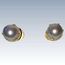 Vintage 18K Gold Grey Cultured Pearl Stud Earrings