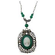Vintage Glass Cameo Pendant Necklace