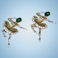 Beautiful Pair Green Glass Rhinestone Ballerina Pins