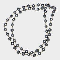 Gray Cultured Pearls 18K Gold Chain Necklace