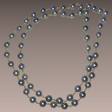 Grey Cultured Pearls 18K Gold Chain Necklace