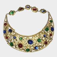 Vintage French Gripoix  Egyptian Revival Cleopatra Gilt Plaque Necklace