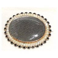 Victorian Memorial 14K  Pearls Jet Woven Hair Brooch