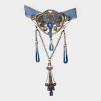 Antique Filigree Silver Gilt Aqua Enamel Pendant Brooch