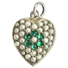 Victorian Silver Cultured Seed Pearl Heart Charm