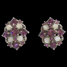 Vintage Signed Hollycraft Earrings Purple And Faux Moonstones