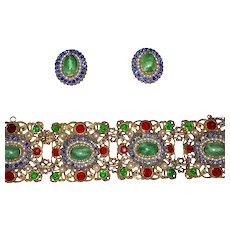 Early Hollycraft Wide Bracelet and Clip Earrings Set Restored