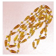 Vintage Long Glass Beads Amber Golden  Yellow