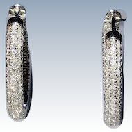 Estate Diamond Inside-Out Hoop Earrings in 14K White Gold