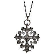 Italy Sterling Gothic Cross with Ornate Gargoyle Long Chain