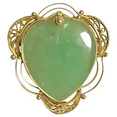 14K Large Jade Heart Brooch or Pendant