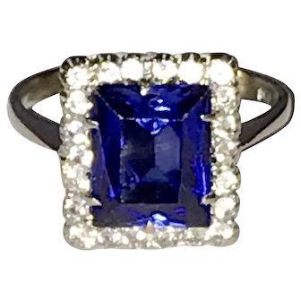 Vintage 1940s Synthetic Sapphire 18K White Gold Ring