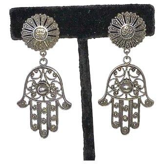 Vintage Hamsa Hand Silver Clip Earrings Large Fatima
