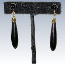 Vintage Black Coral Art Deco Drop Earrings