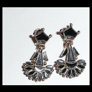Early Victorian Jet and Gold Earrings