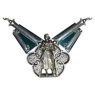 Victorian French Antique Necklace Joan of Arc with Long Chain