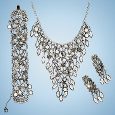 Juliana Crystal Waterfall Necklace Bracelet and Earrings Silver Tone