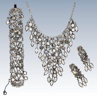 Juliana Crystal Waterfall Necklace Bracelet and Earrings Silver Tone