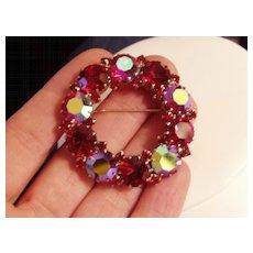Vintage Red Rhinestone Karu Arke Set Pin and Earrings
