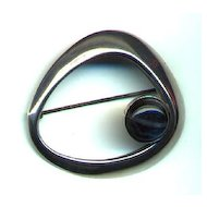 Finland Kaunis Koru Sleek Modern Sterling Brooch