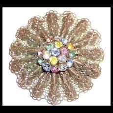 Vintage Pretty Lacy Rhinestone Brooch