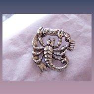 Vintage Lang Sterling Scorpio Zodiac Pin