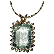 Beautiful Large Natural Aquamarine Diamonds 14K White Gold Pendant with 14K Chain
