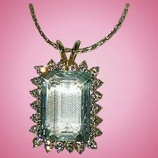 Beautiful Large Natural Aquamarine Diamonds 14K White Gold Pendant with 14K Chain