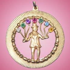 Vintage 14K Gold Large Pendant Charm Gemstones