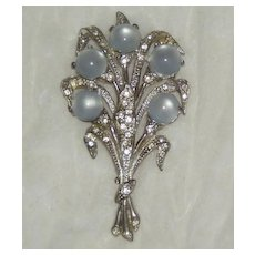 Large Moonglow Flower Bouquet Pin Brooch