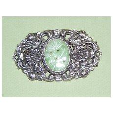 Large Vintage Silver Brooch Faux Jade Stone