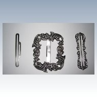 Antique Repousse Sterling Belt Buckle