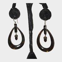 Victorian Antique Earrings Large Hoops